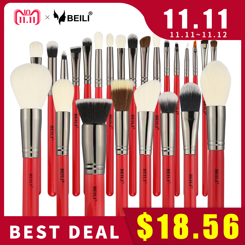 BEILI Red 25pcs Professional Natural Hair Makeup Brushes Set Powder Foundation Blusher Eye Shadow Eyebrow Lip Eyeliner Contour rancai 12pcs makeup brushes set powder foundation blusher lip eyeliner eyelash eyeshadow eyebrow brush