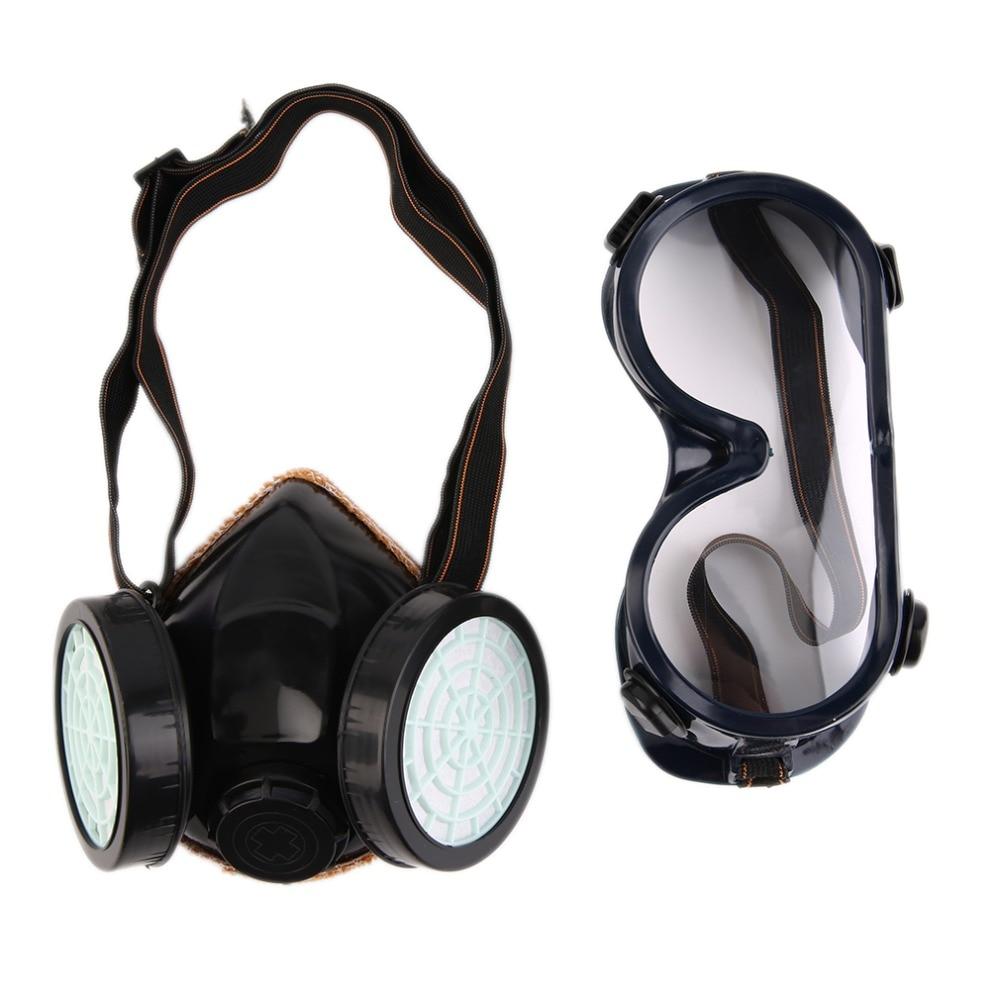 Новый фильтр защиты двойной противогаз Химическая газа против пыли Краски респиратор Уход за кожей лица маска с очки промышленные Детская ...