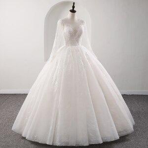 Image 4 - Fansmile 새로운 환상 빈티지 품질 레이스 웨딩 드레스 2020 공 가운 공주 신부 웨딩 드레스 Vestido De Noiva FSM 559F
