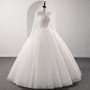 Image 4 - Fansmile New Illusion Vintage Quality Lace Wedding Dress 2020 Ball Gown Princess Bridal Wedding Gowns Vestido De Noiva FSM 559F