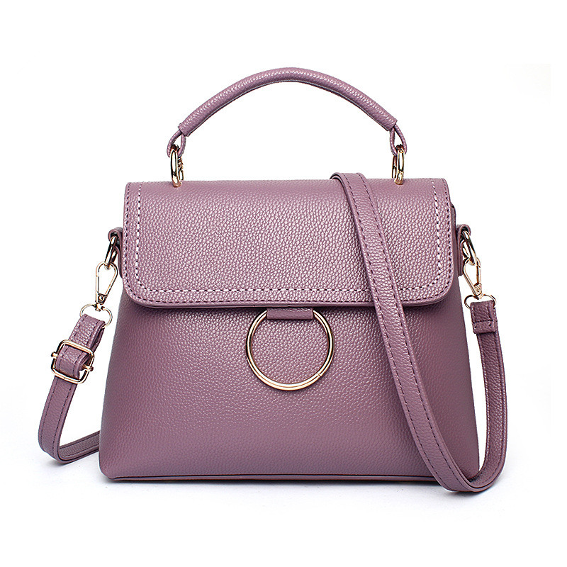 Elegant Dark Purple PU Women Handbag Casual Office Lady Bag Round Cercle Crossbody Messenger Zipper deep purple deep purple stormbringer 35th anniversary edition cd dvd