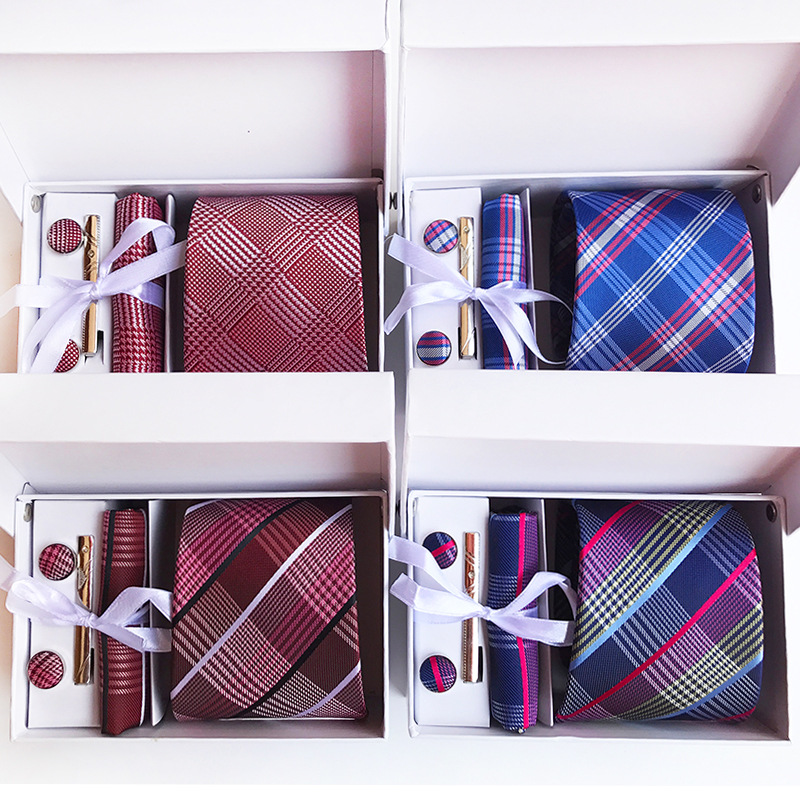 3,35 zoll (8 cm) Breite Plaid Klassische Herren Krawatten Hochzeit Mode Party Mann Krawatte, Taschentuch, pin und Manschettenknöpfe Geschenk Box Verpackung