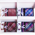 3 35 zoll (8 cm) Breite Plaid Klassische Herren Krawatten Hochzeit Mode Party Mann Krawatte  Taschentuch  pin und Manschettenknöpfe Geschenk Box Verpackung