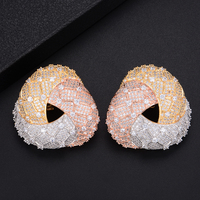 Fashion Geometry Big Size Triangle Shape Hollow Earrings Jewelry For Indian Nigerian Women Wedding Engagement
