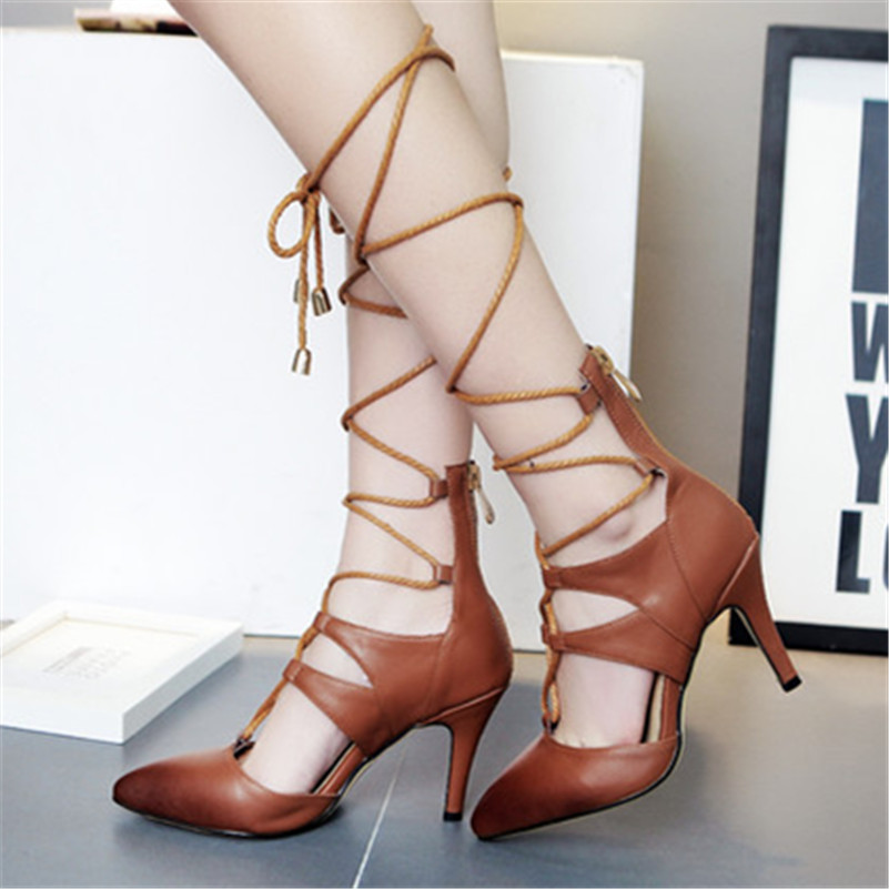ФОТО Caged Buckle Bandage Cusp Cross Strap Models Shoes Soft Leather Women Genuine Leather Shoes Stiletto Heels China High-End