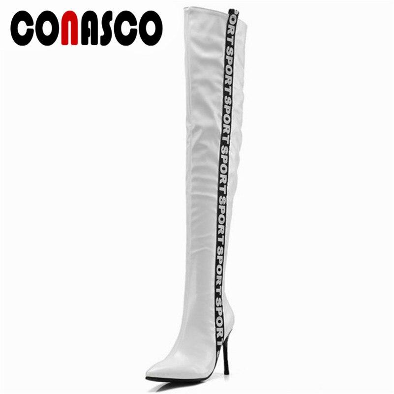 Serré blanc Boot Haute Conasco Mince Long Hiver Sexy Bottes Sur Neige Genou Chevalier Souper Le Talons Automne Dames Mode Chaud Noir QBtrdsxhCo
