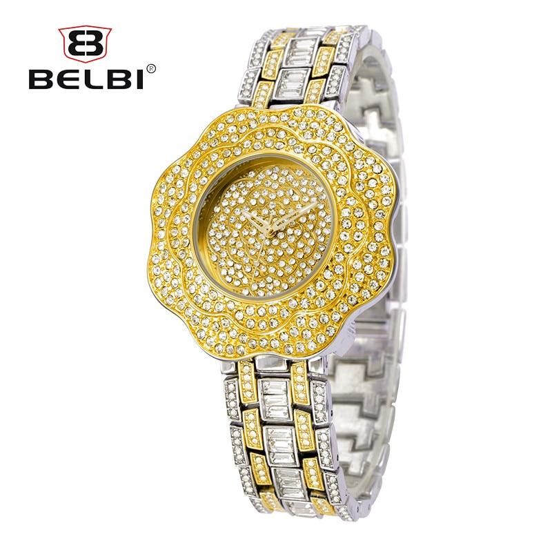 New Arrivals BELBI Luxury Brand Women Watches Full Diamond Big Flower Dial Wristwatch Ladies Quartz Gold Watch Relogio Feminino new arrivals bs brand luxury full diamond bling gold bracelet watch giving crystal bangle present for women