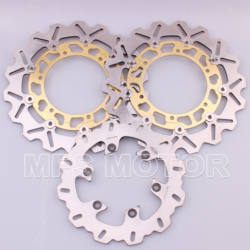 Front Rear Brake Discs Rotor For Yamaha YZFR1 1998 1999 2000 2001 YZFR6 1998 1999 2000 2001 2002 YZF R6 98 99 00 01 02 Gold motorcycle full fairings for yamaha yzf r6 1998 1999 2001 2002 orange white yzfr6 98 99 01 02 yzf600 fairing aftermarket parts