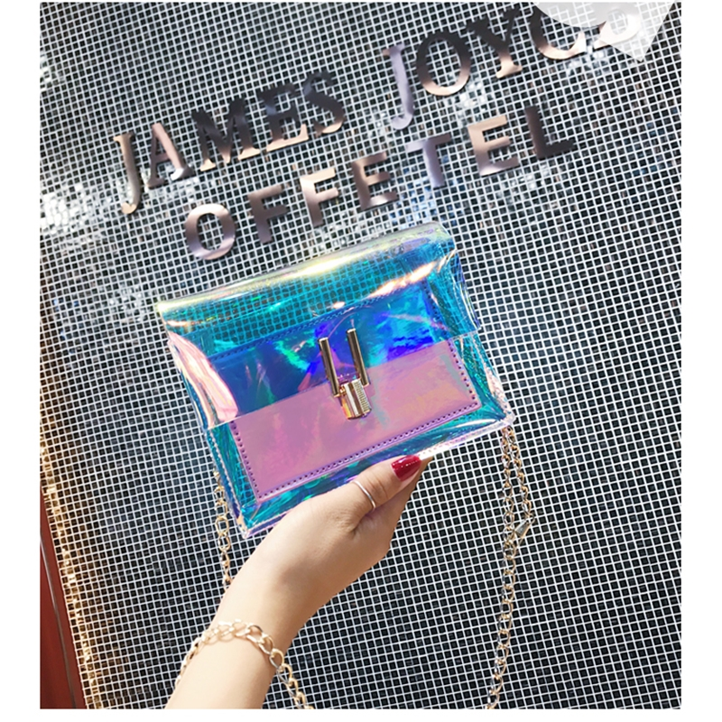 JIAOO Laser Transparent Bags Fashion Women Crossbody Bags for Women Korean Style Shoulder Bag Messenger PVC Waterproof Beach Bag 13