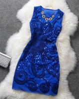 Cekinami sukienka podstawowe rocznika panie elegancki błyskotka dysku kwiaty slim formalna suknia z długim rękawem bez rękawów sukienka luksusowe