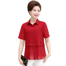 d48346171ad 2019 Women Summer Shirts Short Sleeve Turn Down Collar Chiffon Blouses  Woman Red Blue Orange Crepe