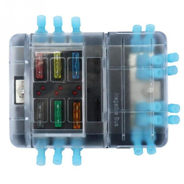 New DC32V 100A Blade Fuse Box Holder-12P Negative Bus Bar Quick Terminals With Blade Fuse LED Warning Light for Car Boat Marine