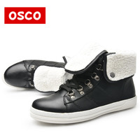 OSCO Brand New Arrival Winter Fashion Women Boots Warm Fur Ankle Snow Boots Black Ladies Style