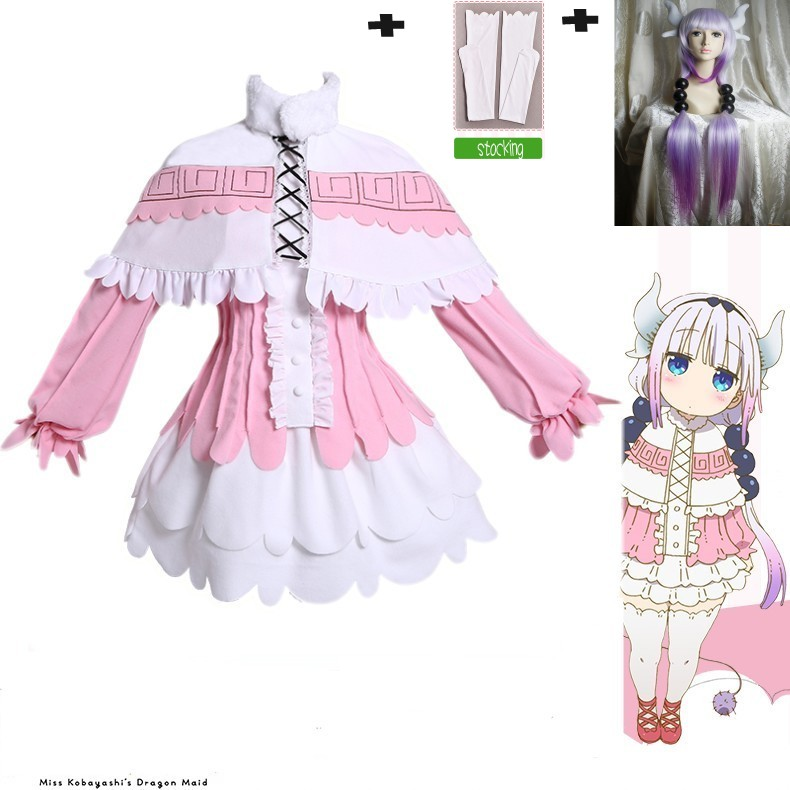 New anime With Wig Miss kobayashis dragon maid kanna cosplay costumes girls clothing cos ...