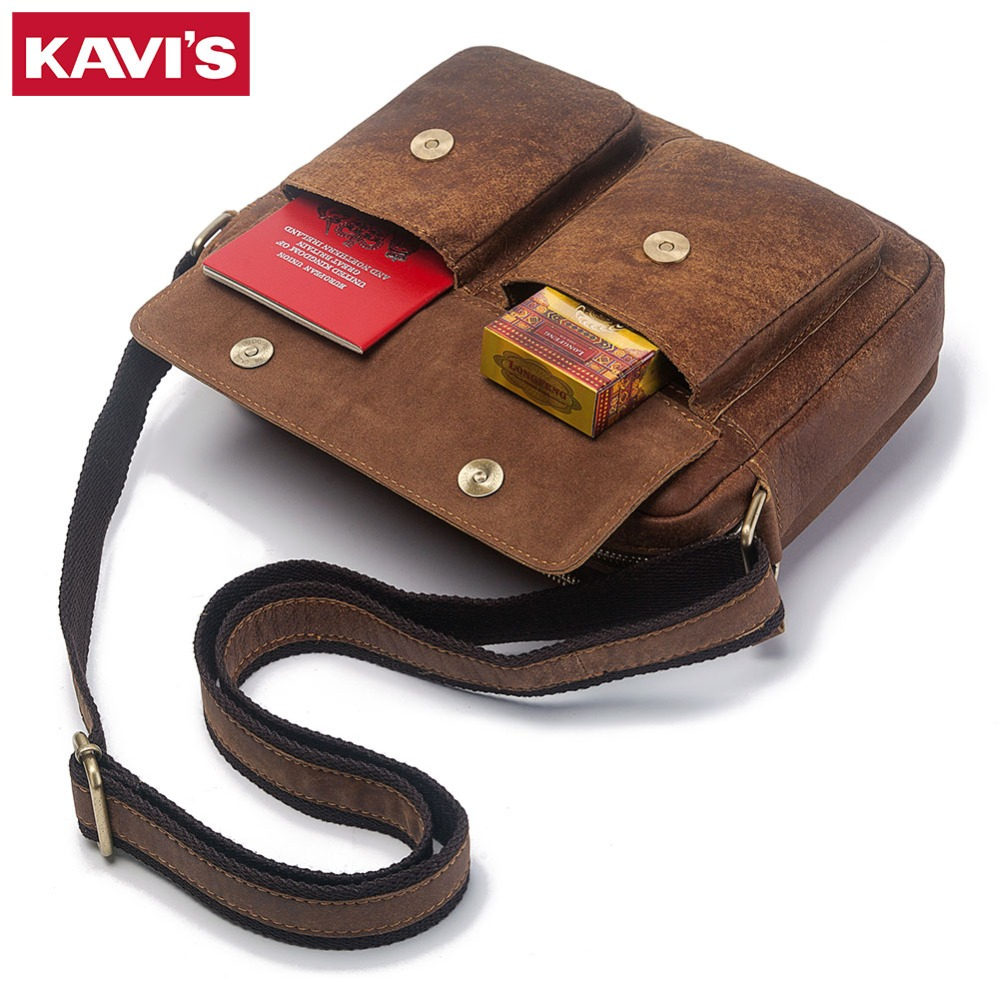 KAVIS 2018 New Vintage Shoulder Bags Men Genuine Cowhide Leather Messenger Bag Travel Crossbody Bag Handbags Men Bag Top Quality jason tutu promotions men shoulder bags leisure travel black small bag crossbody messenger bag men leather high quality b206