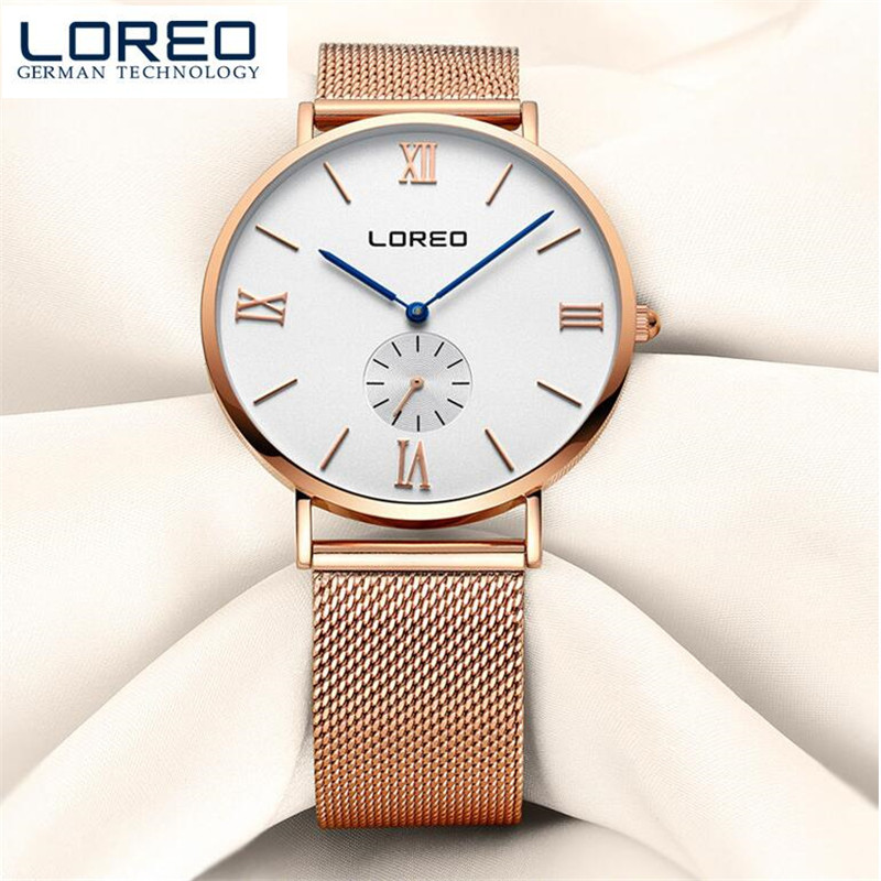 LOREO Women Watches Fashion Quartz Ladies Stainless Steel and Leather Bracelet Watch Casual Clock montre Femme reloj mujer O95 2016 julius brand quartz watches women clock gold square leather bracelet casual fashion watch ladies reloj mujer montre femme