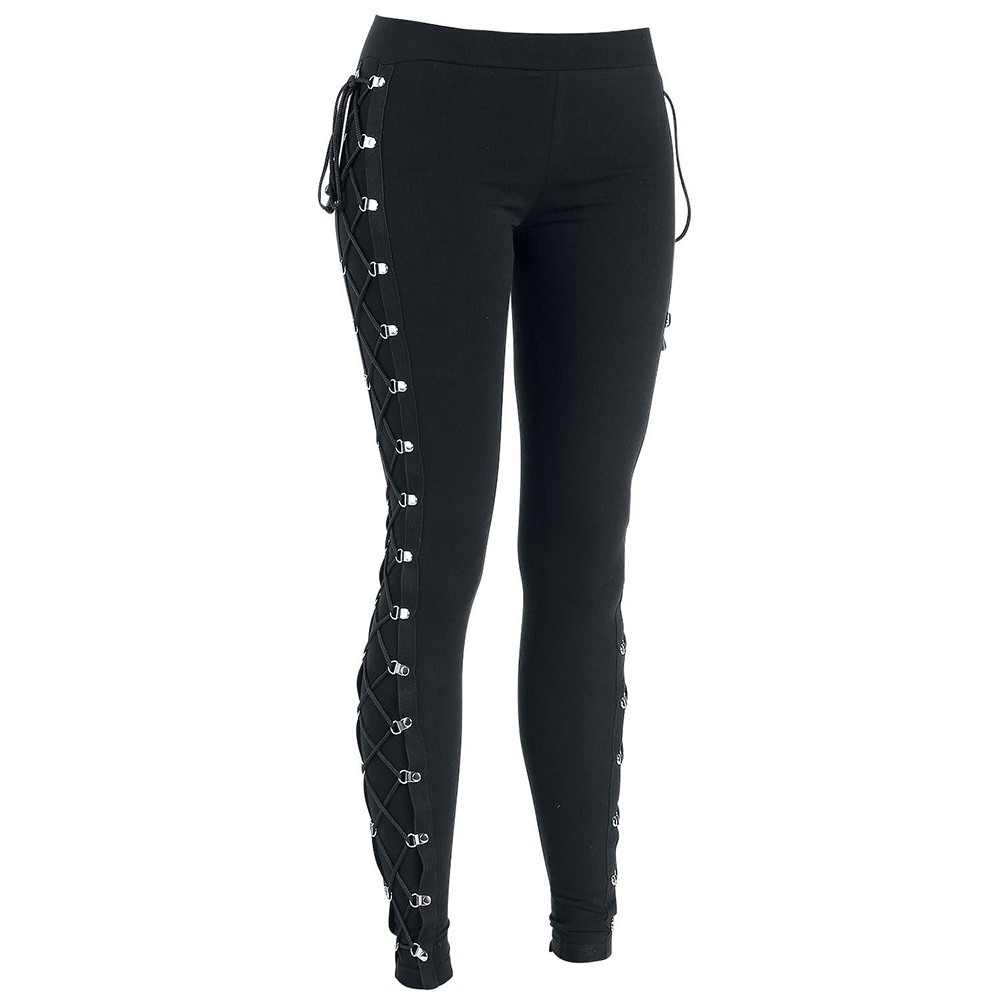 2018 Fall Casual Gothic Office Lady Punk Style Women Leggings Plain Thin Cotton Straight Female Fashion Black Leggings