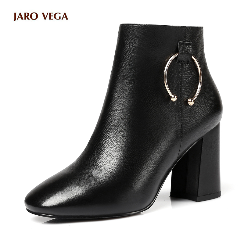 Hot sale New 2017 Winter Women black Ankle Boots Real Leather Shoes Women Round Toe Zipper British Fashion Square Heel Boots hot sale autumn winter shoes round toe fashion ankle women boots sheepskin all match square high heel
