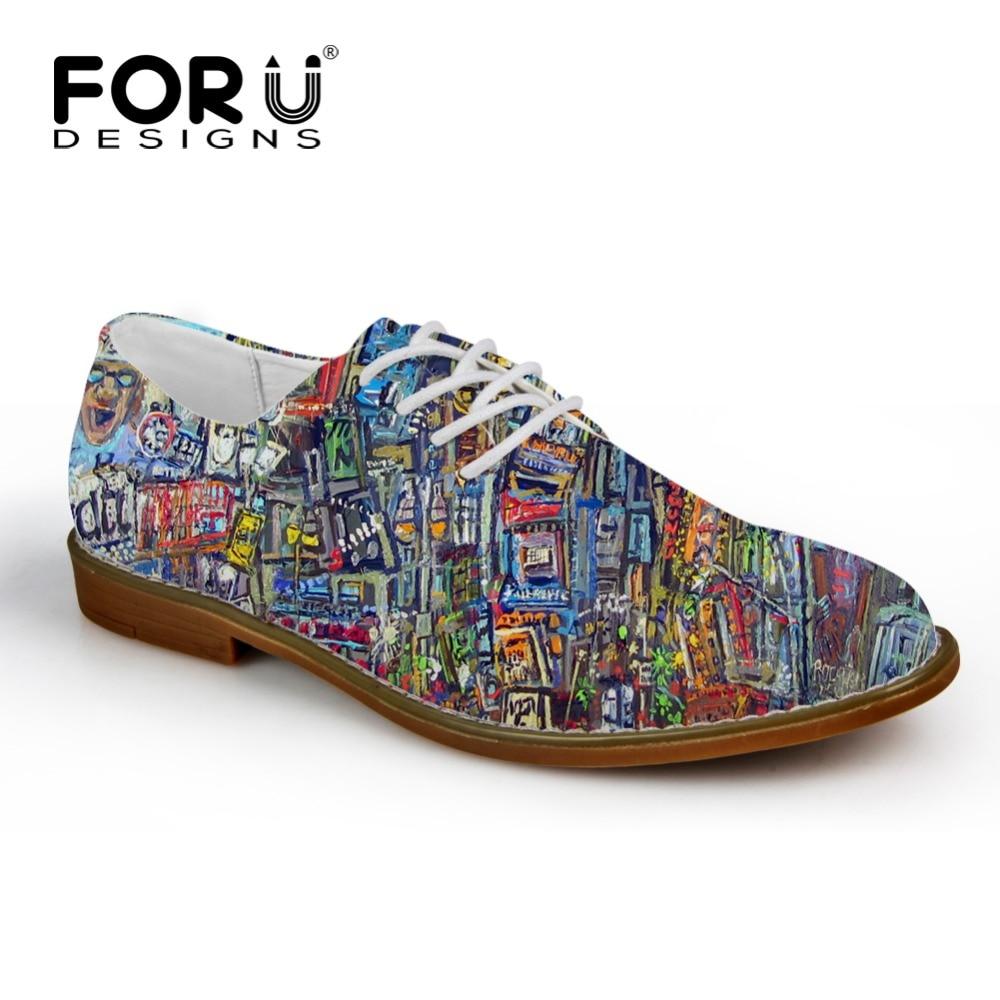 FORUDESIGNS Moda Graffiti pintura hombres zapatos de cuero ocasionales respirables con cordones pisos para hombre de alta calidad para hombre Oxford