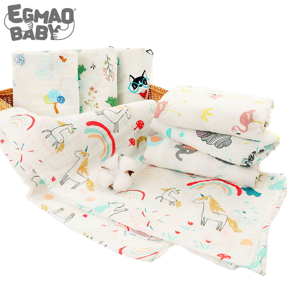 Organic Cotton Muslin Swaddle Blanket Baby Gauze Bath Towel Sleeping Bed Supplies Hole Wrap Infant Baby Warp Animals Bed Sheet