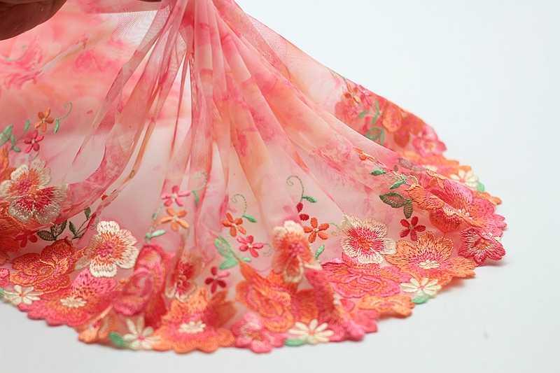 2 года/партия Изысканная вышитая кружевная отделка, розовая кружевная ткань, качественная кружевная лента, DIY ремесло и швейное платье аксессуары для одежды