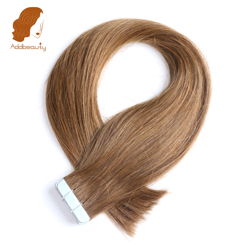 Addbeauty 18 20 22  Machine Made Remy Human Hair Extensions 2.5g/stand 20pcs/pack Tape In Hair Skin Weft 50g