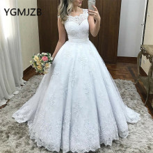 YGMJZB White Wedding Dresses 2019 Ball Gown Sweep Train