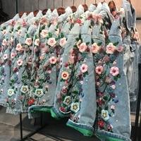 High Quality Brand Denim Jacket Women Heavy Embroidery Hand Beads Loose Denim Jackets Woman's Denim Coats Outwear