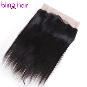 Image 2 - Bling Hair 360 Lace Frontal Closure Brazilian Hair 100% Remy Human Hair Straight Closure with Baby Hair Free Part Natural Color