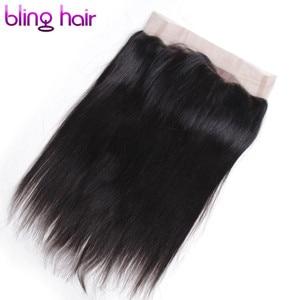 Image 4 - Bling włosy 360 koronka Frontal zamknięcie brazylijski proste 100% Remy ludzki włos uzupełnienie splotu ludzkich włosów z dzieckiem włosy darmo częścią naturalna linia włosów
