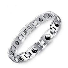 Titanium de acero religiosa ocho diagramas pulsera magnética de la salud ying yang patrón pulsera para hombre