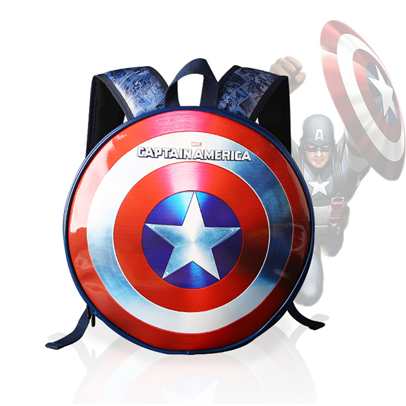 High Quality Marvel the Avengers Captain America Backpack Laptop Backpacks Mochila PU Leather Bagpack Computer Bagsk School Bags image