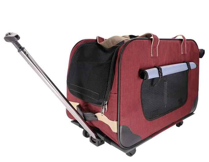 H Pet trolley folding four-wheeled dog trolley box cat suitcase bag breathable closed Lever Panoramic Skylight Super Breathable