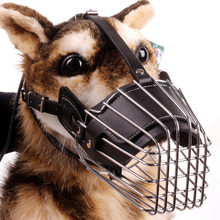 Pet Large Dog Muzzle Black Metal Wire Basket Leather Anti-bite Masks Mouth Cover Bark Chew Muzzle Pet Breathable Safety Mask