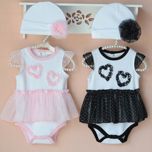 baby girl rompers toddler girl clothes lace skirt romper+hat 2pcs set kids romper infant roupas de bebe overall clothes outfits