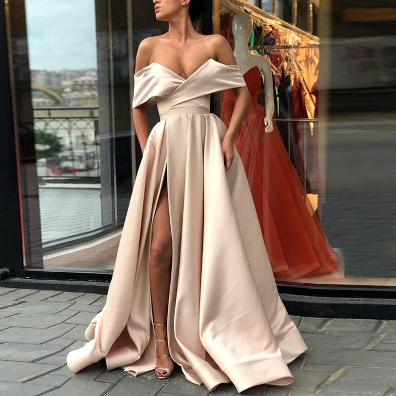 Off The Shoulder Satin Prom Gowns With Side Slit Floor Length White Ivory Champagne Split Party Dresses Sexy Evening Gowns Платье