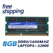 KEMBONA módulo de Memoria Ram DDR3L para ordenador portátil y portátil, 1,35 V, 1600 MHz, DDR3, PC3L 12800S, 8GB, SO DIMM