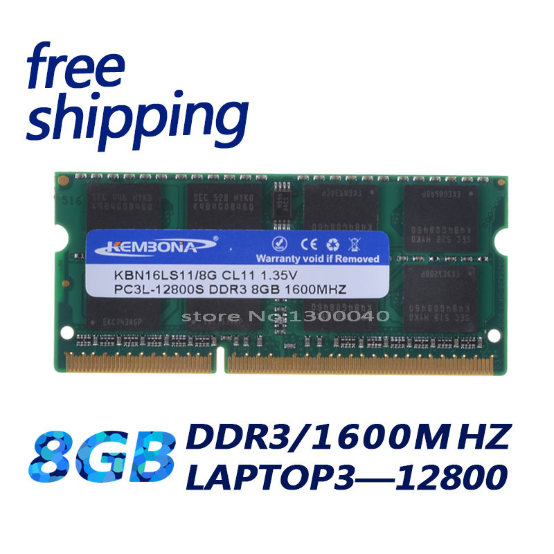 KEMBONA melhor preço venda 1.35 V DDR3L 1600 MHz Módulo de Memória Ram Memoria DDR3 PC3L-12800S 8 GB SO-DIMM para Laptop /Notebook