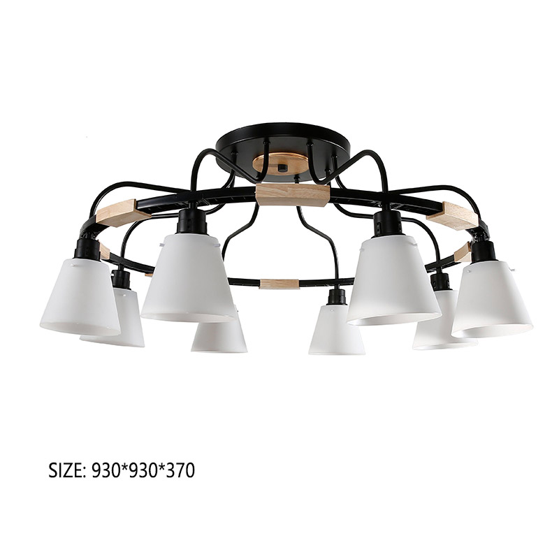Nordic LED Light Wooden Chandelier Lights E27 With PVC Lampshade For Living Room Lighting Fixtures 220V 110V Light