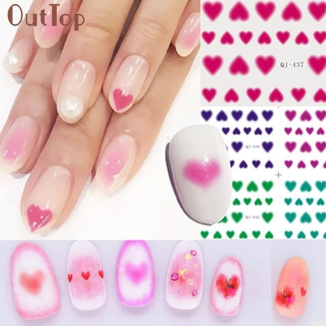6pc New Pro 3d Cute Nail Art Stickers Love Heart Rouge Blush Design