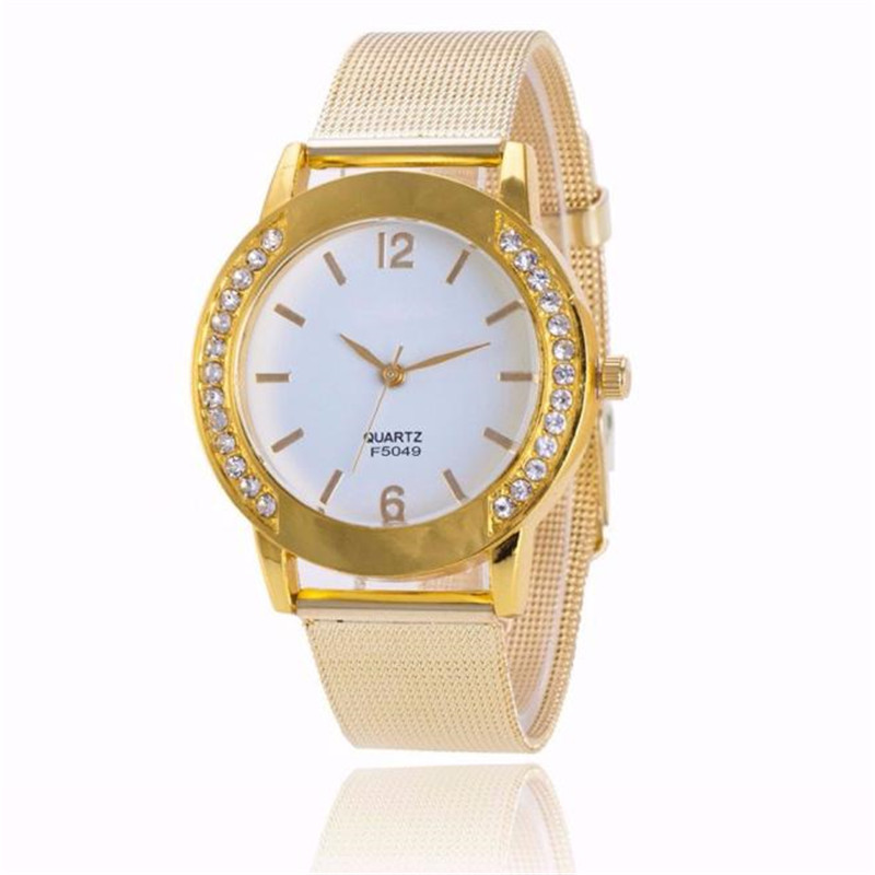 watches women Stainless Steel Fashion Womens Crystal Analog Quartz Wrist Watch Bracelet clock woman vintage F.6 wavy style fashion stainless steel quartz analog bracelet wrist watch for women golden 1 x 377