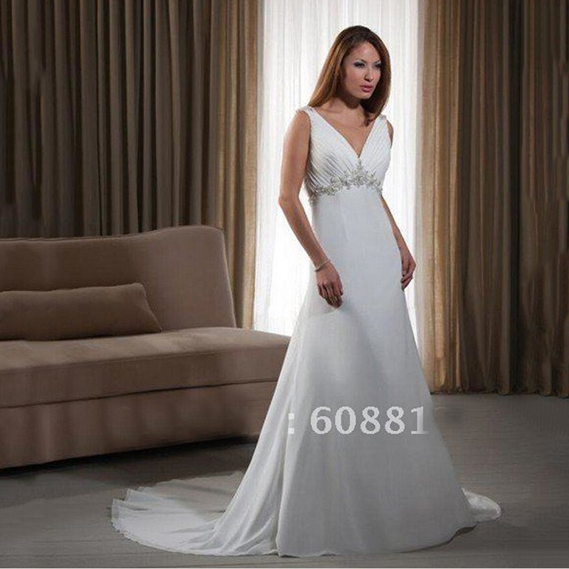 Backless Wedding Gowns For Sale: Hot Sale V Neck Backless Wedding Dress High Waistline