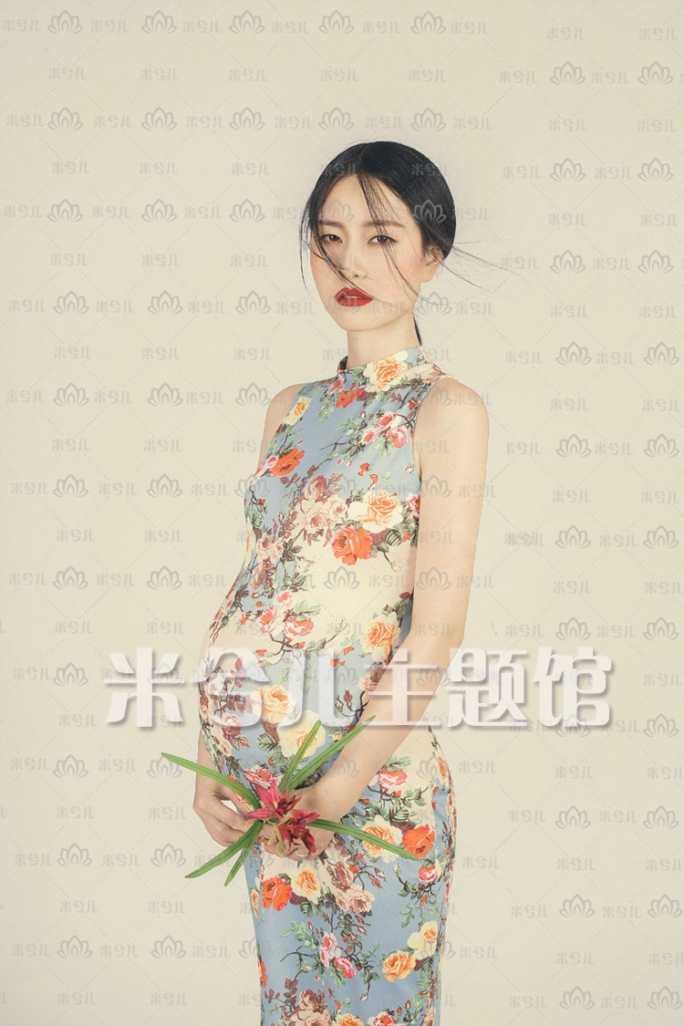 New Arrival Chinese Female Qipao Short Style Cheongsam Women Traditional Silk Satin Dress Flower dress Maternity photography