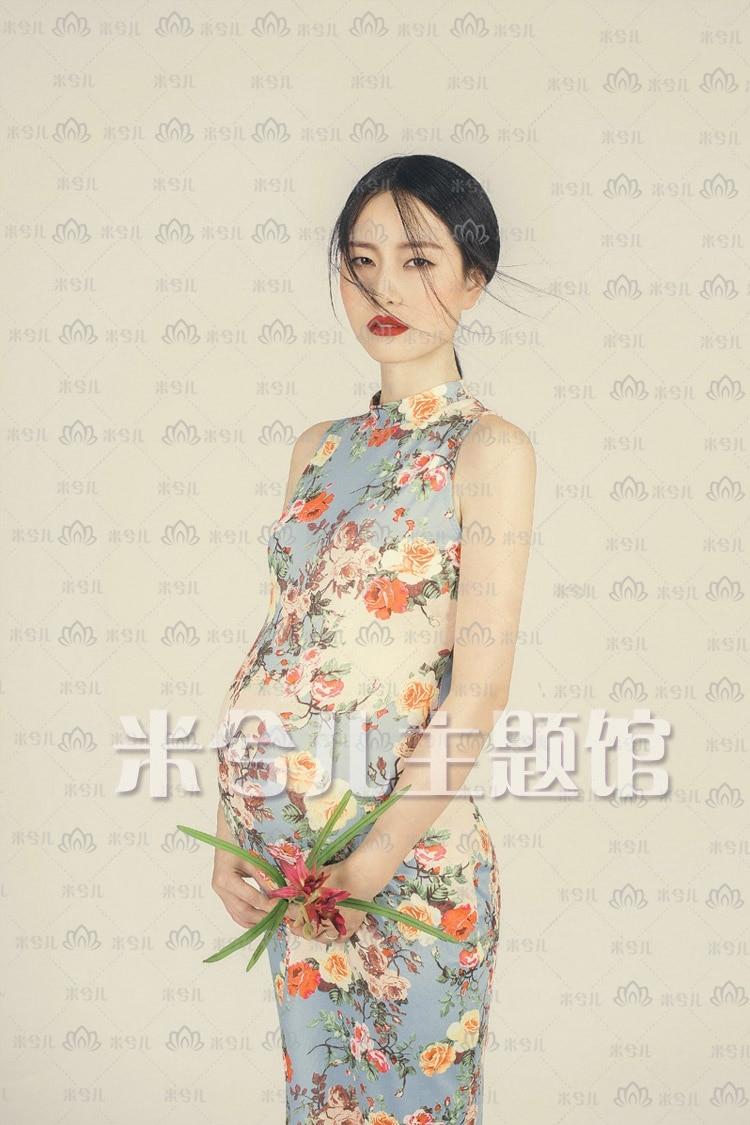 New Arrival Chinese Female Qipao Short Style Cheongsam Women Traditional Silk Satin Dress Flower dress Maternity photography ...