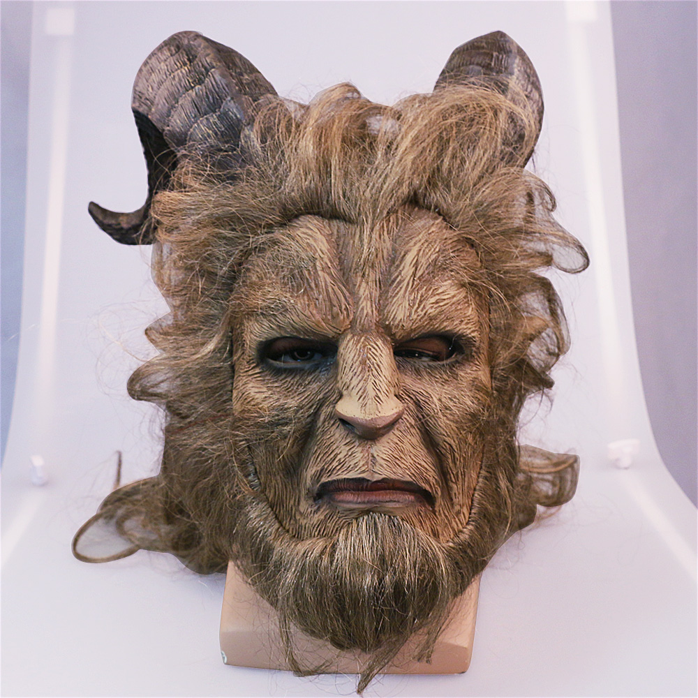 2017 Hot Movie Beauty and the Beast Adam Prince Mask Cosplay Horror Mask Latex Lion Helmet Halloween Party (3)