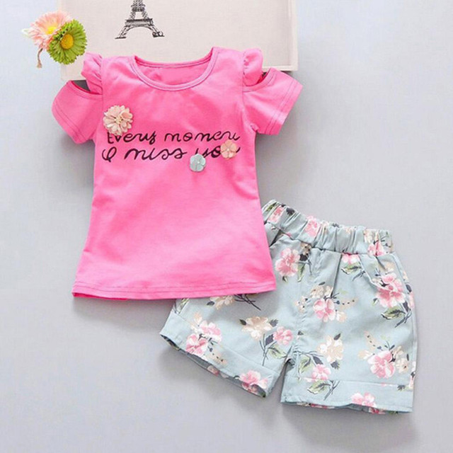 Toddler Kids Baby Girl Stylish fashion design  Letter T-shirt Top+Floral Shorts Pants Outfit Clothes Set clothes