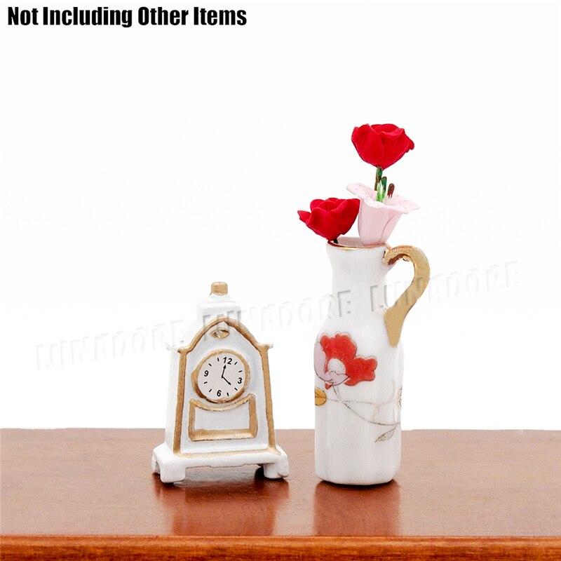 Odoria 1:12 Miniature Vintage White Table Clock Dollhouse Furniture  Accessories