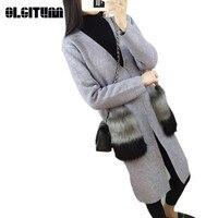 2018 Outono Nova Venda Quente Mulheres Moda Pele De Cashmere Cardigan Decote Em V Malha Camisa Magro Versão Coreana do Sexo Feminino Longa Camisola SW391
