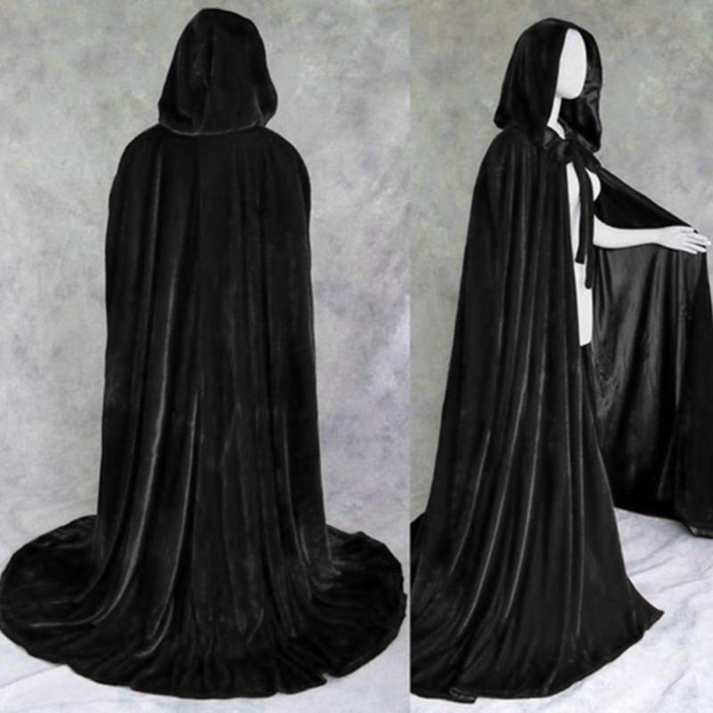 Men Women Halloween Party Costume Cloak Theater Prop Vampire Death Hoody Devil Cosplay Windproof Unisex Black