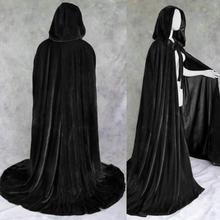 Men Women Halloween Party Costume Cloak Theater Prop Vampire Death Hoody Cloak Devil Cosplay Windproof Cloak Unisex Black